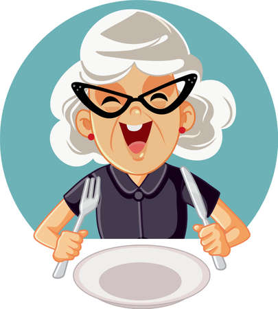 Happy Cheerful Elderly Woman Ready to Eat