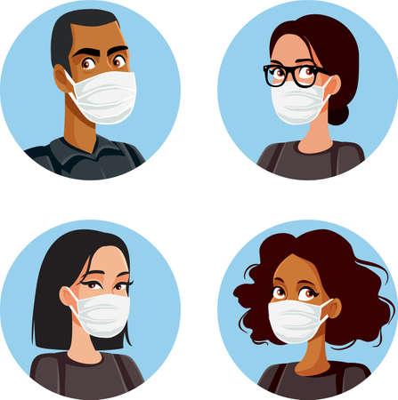 People Wearing Medical Mask Avatars Set Illustration