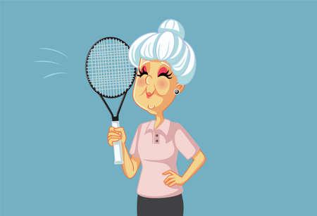 Sporty Grandma Playing Tennis Holding Racket Illustration