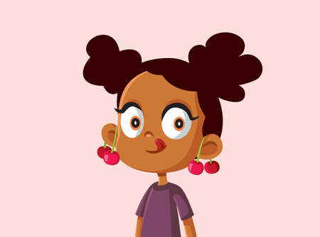 Cute African Girl with Cherries on Her Ears Vector Illustration Illustration