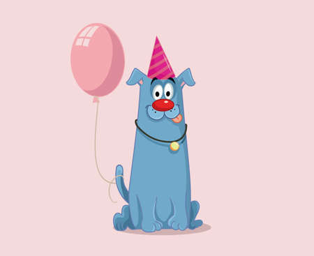 Party Dog with Pink Balloon Vector Cartoon