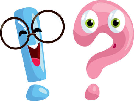 Question Sign and Exclamation Mark Cartoon Characters