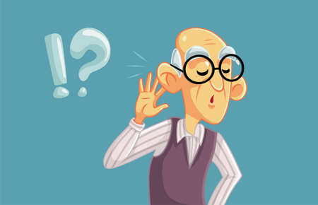 Elderly Man Having Hearing Problems Vector Illustration