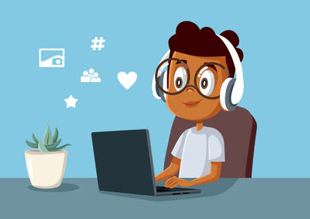 Young Boy Spending Time on Social Media on His Laptop Illustration