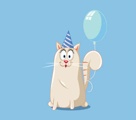 Party Cat with Blue Balloon Vector Cartoon