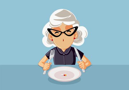 Senior Woman Taking Medical Treatment Before Eating