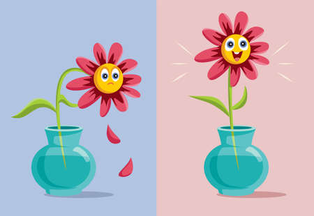 Sad Withered flower that Rejoices Vector Cartoon
