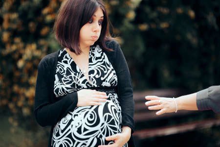 Stranger Touching Pregnant Woman Making Her Uncomfortable