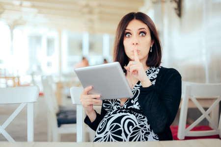 Secretive Pregnant Woman Holding Pc Tablet