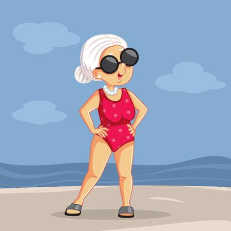 Senior Lady Enjoying Summer Vacation at the Beach Illustration