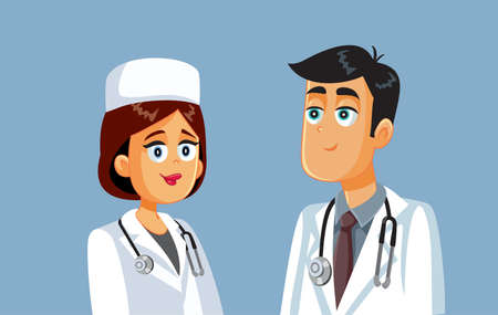 Team of Medical Workers Standing Together Cartoon Illustration