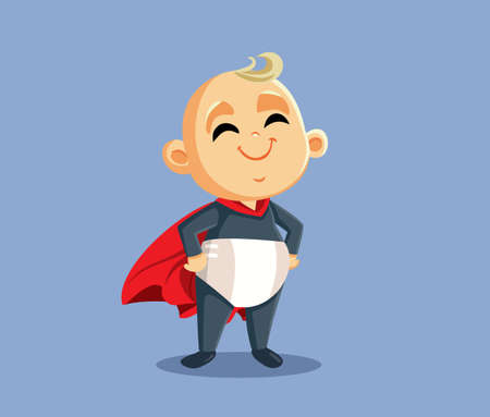 Cute Superhero Baby Vector Cartoon Character Illustration