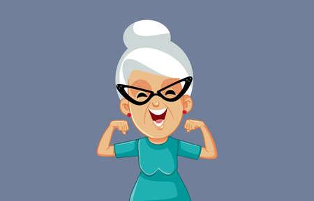 Happy Cheerful Strong Grandma Vector Cartoon Illustration Illustration