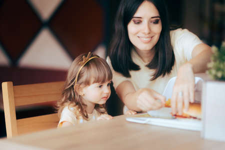Mother and Daughter Celebrating at Fast Food Birthday Party