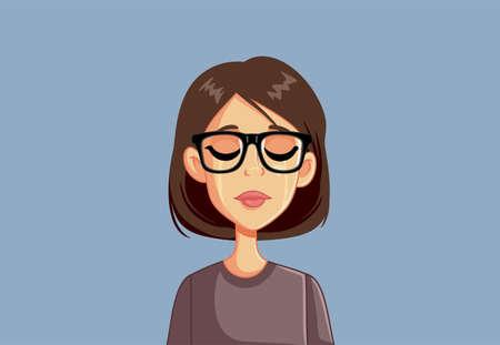 Sad Upset Woman Crying Vector Illustration Illustration