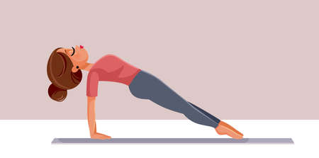 Young Woman in Upward Plank Yoga Pose Vector Illustration