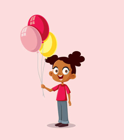 Happy African Girl Holding Balloons Vector Illustration