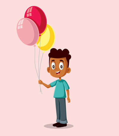 Happy African Boy Holding Balloons Vector Illustration