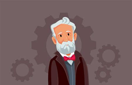 Jules Verne Vector Cartoon Illustration