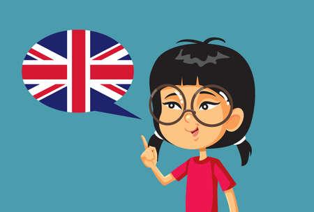 Asian Girl Learning English Vector Cartoon Illustration