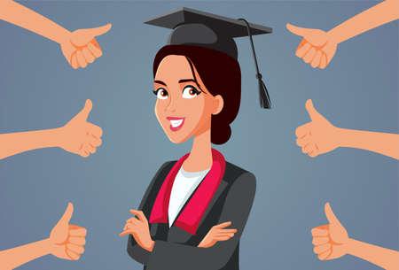 Female Student Receiving Appreciation at Graduation Ceremony Vektorgrafik