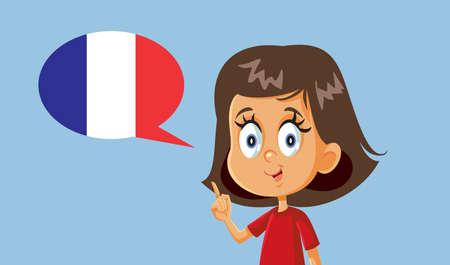 Little Girl Speaking French Vector Illustration