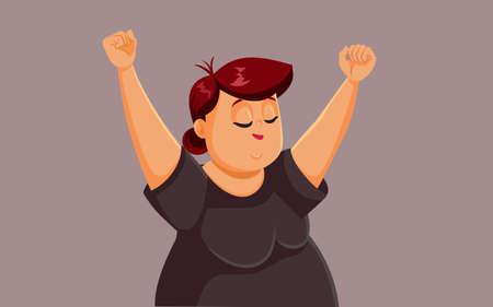 Cheerful Overweight Woman Raising Arms Vector Cartoon