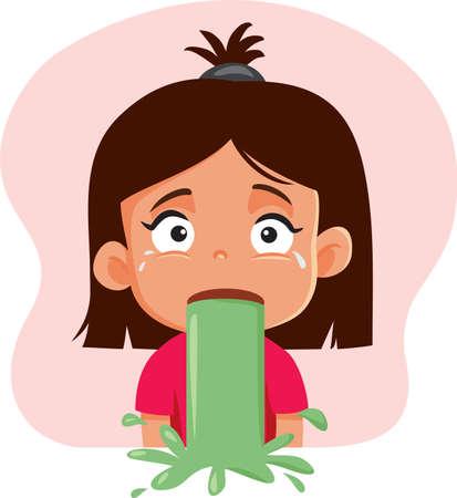 Little Girl Vomiting Feeling Sick Vector Cartoon
