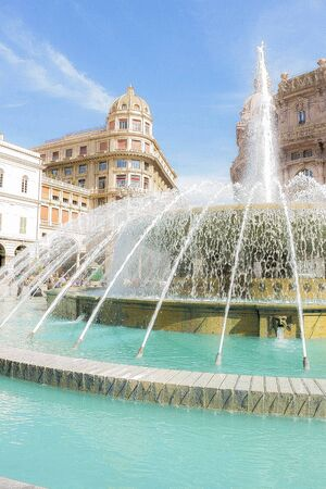 ferrari: fountain in Piazza de Ferrari in Genoa