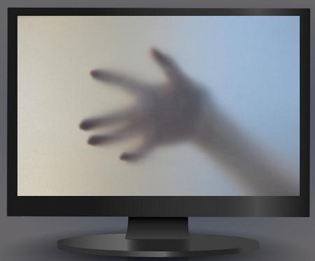 IN hands of Computer Screen Imagens