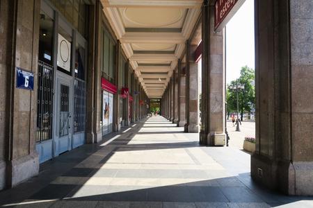 Communist warsaw, pillars of communist building at theatre square