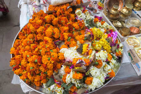 Flowers for religious ritual on indian market in Varanasi