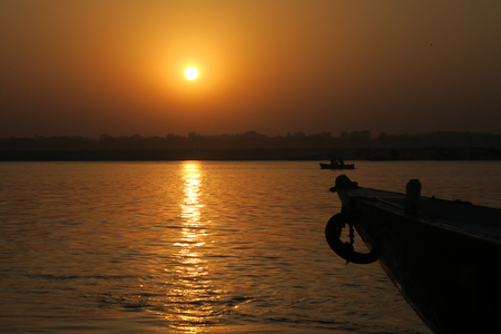 Ships on water on the Ganges river