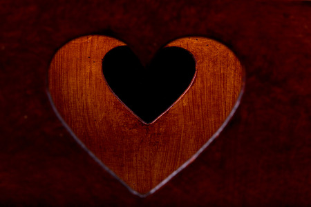 fancy box: two heart carved in a wooden box Stock Photo