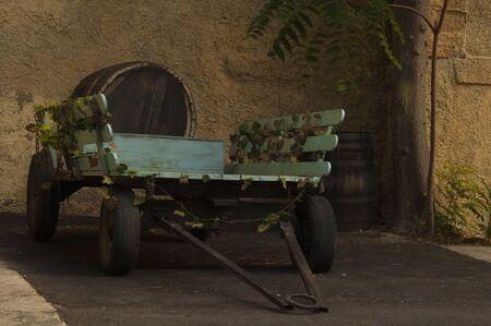 wagon for transportation casks Stock Photo