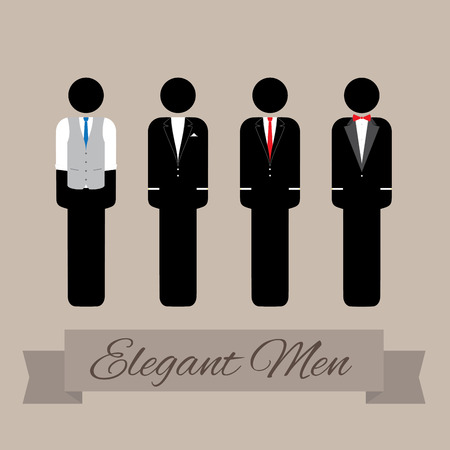 mana: four classy and elegant men in suits Illustration