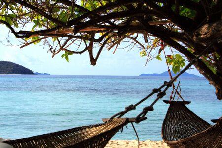 palawan: hamaca en el �rbol malcapuya playa de la isla de Palawan en Filipinas