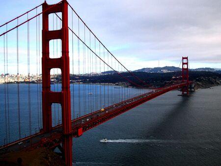 san francisco golden gate bridge: san francisco golden gate bridge with boat going through under bridge Stock Photo
