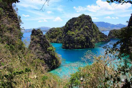 palawan: water pond ocean between mountains in palawan philippines
