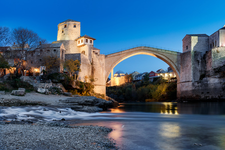 Old Bridge in Mostar at dawn, Bosnia and Herzegovina