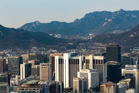SEOUL, SOUTH KOREA - JAN 22, 2018: Aerial shot of Seoul skyline from Namsan Park at blue hour