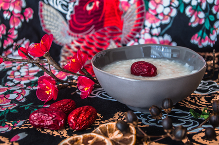Chinese breakfast rice congee with red dates