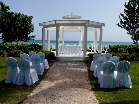 Tropical settings for a wedding on a beach, Bayahibe, Dominican Republic photo
