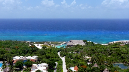 Aerial view of Xcaret park, Yucatan, Mexico photo