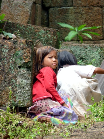 Cambodian young girls at Banteay Srei ruins temple in Siem reap, Cambodia