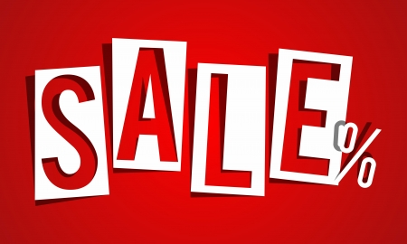 super market: Sale on red background vector illustration Illustration