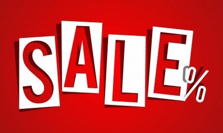 Sale on red background vector illustration Illustration
