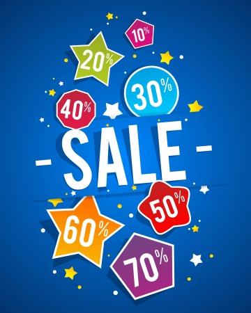 Sale on blue background vector illustration