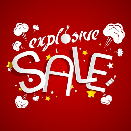 bomb price: Explosive Sale on red background vector illustration