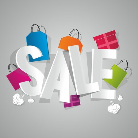 Sale with coloured bags vector illustration Çizim